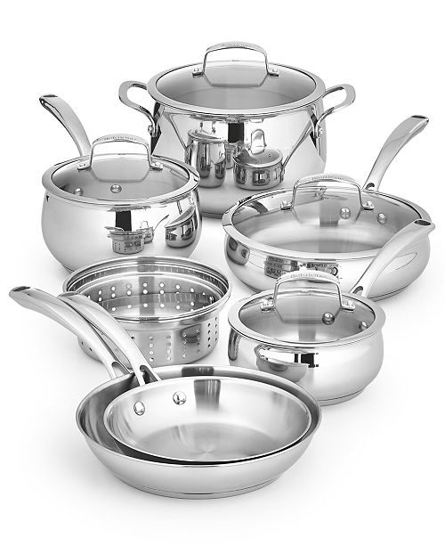 Belgique Polished Stainless Steel 11-pc. Cookware Set, Created for Macy's