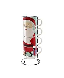 Santa 5 Piece Mug Set w/ Metal Rack