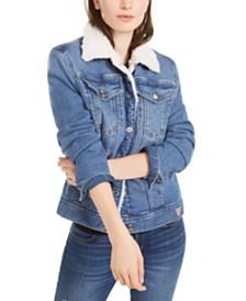 GUESS Fleece-Trim Denim Trucker Jacket