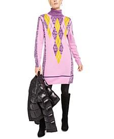 Argyle Turtleneck Sweater Dress