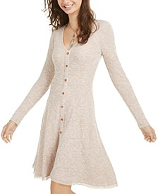 Juniors' Marled Rib-Knit Fit & Flare Dress, Created for Macy's