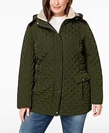 Plus Size Faux-Suede-Trim Sherpa-Lined Hooded Quilted Jacket