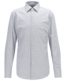 BOSS Men's Jango Slim-Fit Plain-Check Melange Cotton Shirt
