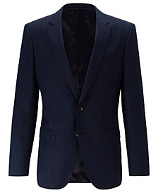 BOSS Men's Slim-Fit Patterned Virgin Wool Serge Blazer