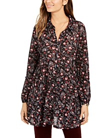 Petite Floral-Print Tiered Shirt, Created for Macy's