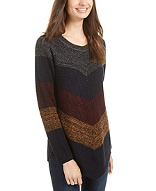 Juniors' Mitered-Stripe Asymmetrical-Hem Sweater