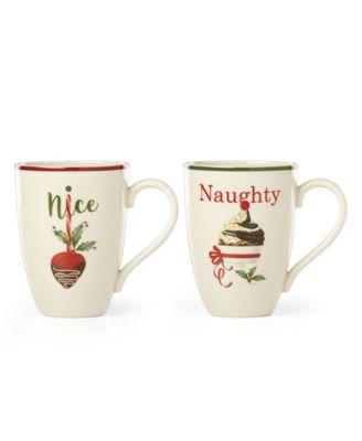 Naughty and Nice Dessert Mug Set