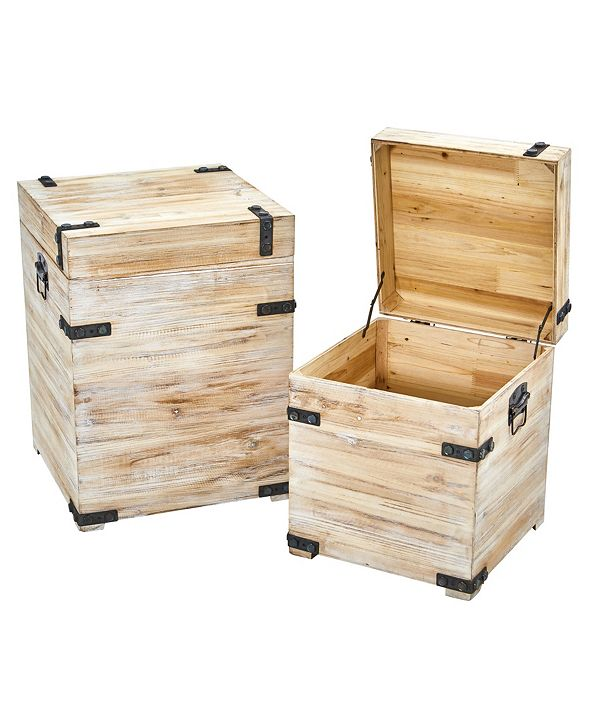 Nearly Natural Decorative White Wash Storage Boxes-Trunks with Metal Detail - Set of 2