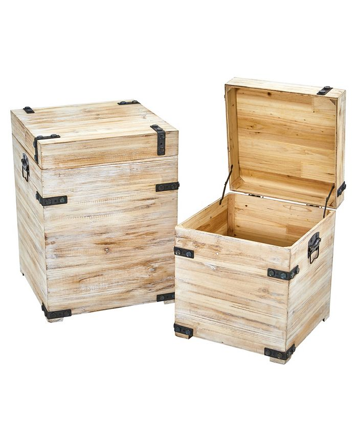 Nearly Natural - Decorative White Wash Storage Boxes-Trunks with Metal Detail - Set of 2