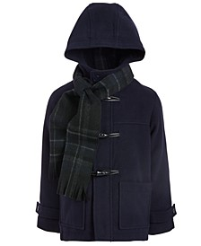 Toddler Boys Hooded Toggle Coat With Scarf