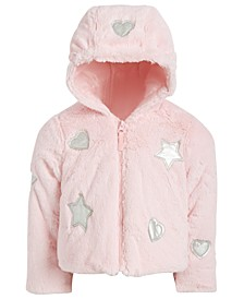 Toddler Girls Hooded Faux-Fur Teddy Jacket