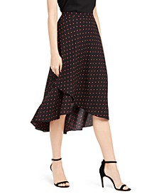 Dot-Print Asymmetric-Hem Skirt