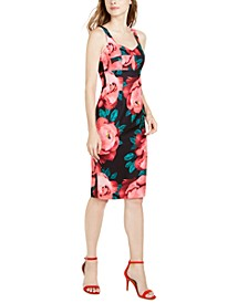 Sweetheart Floral-Print Midi Dress