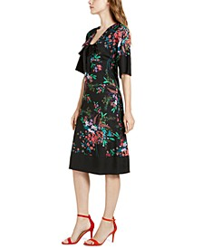 Bow Floral-Print A-Line Dress