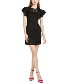 Trina Trina Turk Flutter-Sleeve Lace Shift Dress
