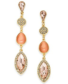 INC Gold-Tone Crystal & Stone Linear Drop Earrings, Created For Macy's