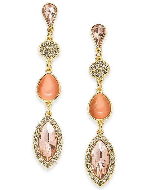 INC International Concepts INC Gold-Tone Crystal & Stone Linear Drop Earrings, Created For Macy's