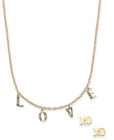 """INC Gold-Tone 2-Pc. Set Crystal """"XO Love"""" Charm Necklace & Stud Earrings, Created For Macy's"""