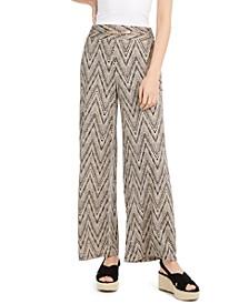 Petite Hardware-Trim Printed Pants