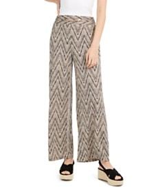 NY Collection Petite Hardware-Trim Printed Pants