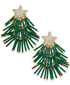 INC Gold-Tone Pavé & Multicolor Bead Holiday Tree Drop Earrings, Created for Macy's