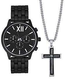 INC Men's Matte Black Bracelet Watch 48mm Gift Set, Created for Macy's