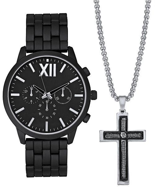 INC International Concepts INC Men's Matte Black Bracelet Watch 48mm Gift Set, Created For Macy's