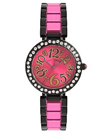 Betsey Johnson Pink Dial & Two Tone Bracelet Watch 32.5mm