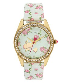 Floral Printed Dial & Blue Strap Watch 40mm