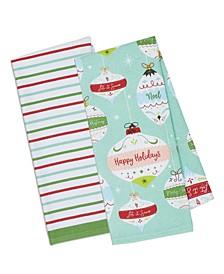Dishtowel Holiday Ornaments and Stripes Set