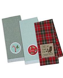 Design Imports Owl Be Christmas Embroidered Dishtowel
