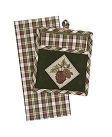 Wood Pine Gift Set Potholder with Dishtowel