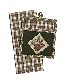 Design Imports Wood Pine Gift Set Potholder with Dishtowel