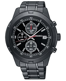Men's Chronograph Black Stainless Steel Bracelet Watch 43.5mm