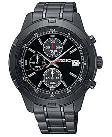 Seiko Men's Chronograph Black Stainless Steel Bracelet Watch 43.5mm