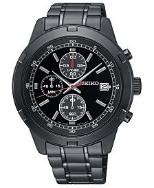 Seiko Men's Chronograph Black Stainless Steel Bracelet Watch 43.5mm