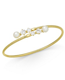 Gold-Tone Imitation Pearl & Cubic Zirconia Bypass Bracelet, Created For Macy's