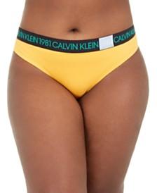 Calvin Klein Women's Plus Size 1981 Bold Cotton Thong QF5653