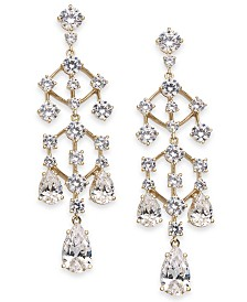 Eliot Danori Gold-Tone Cubic Zirconia Chandelier Drop Earrings, Created For Macy's