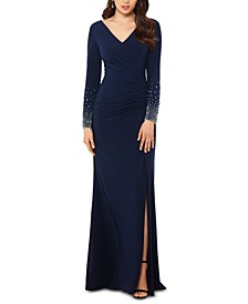 Beaded-Sleeve A-Line Gown