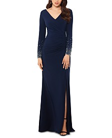 XSCAPE Beaded-Sleeve A-Line Gown