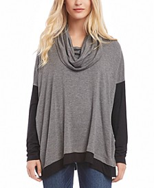 Cowl-Neck French Terry Colorblocked Top