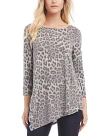 Karen Kane Leopard-Print Cross-Back Asymmetrical Top