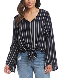 Striped Tie-Hem Top