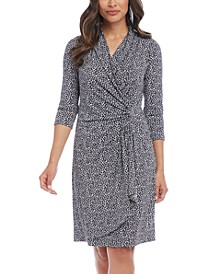 Printed Surplice Wrap Dress