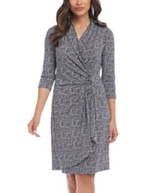 Karen Kane Leopard Print Surplice Wrap Dress