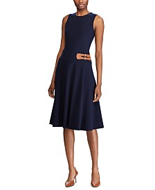 Lauren Ralph Lauren Sleeveless Double-Buckle Jersey Dress