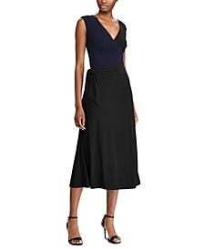 Sleeveless Self-Tie Jersey Midi Dress