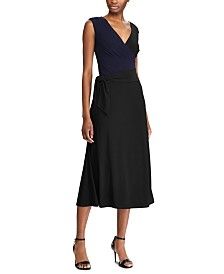 Lauren Ralph Lauren Sleeveless Self-Tie Jersey Midi Dress