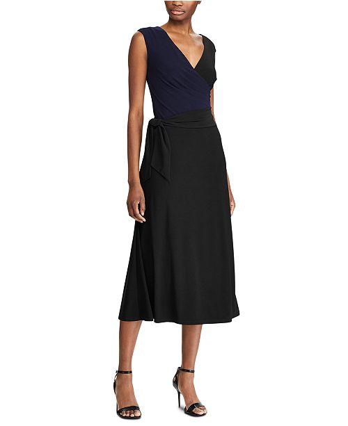 Lauren Ralph Lauren Sleeveless Self-Tie Jersey Midi Dress